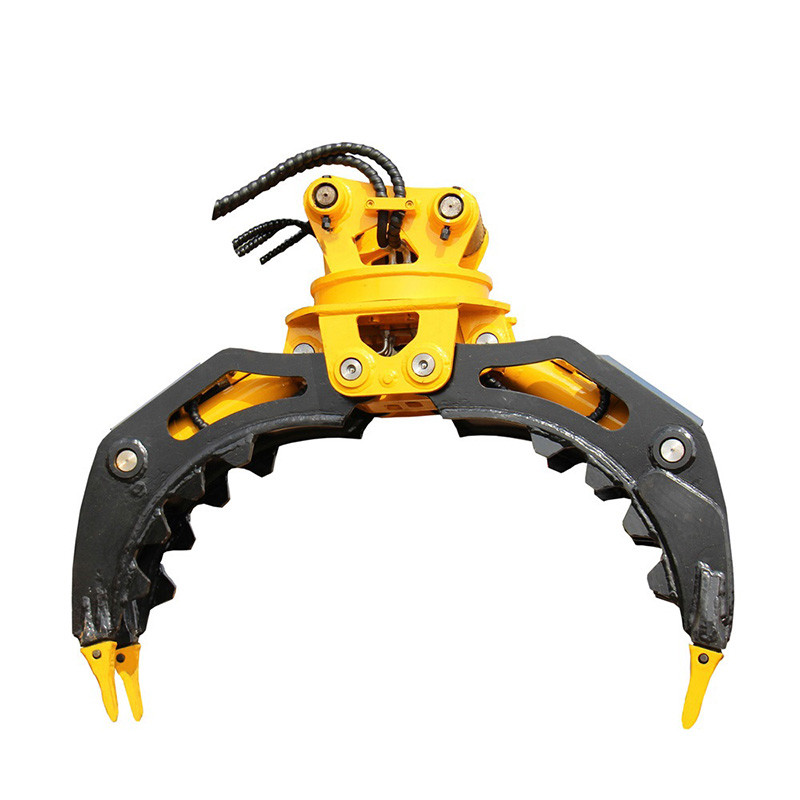 Hydraulic stone grapple with 360 degree function